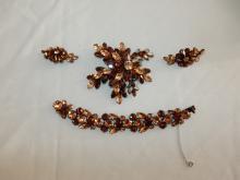 4 piece signed Regency Jewels, vintage ladies paste rhinestone amber colored bracelet, brooch & clip on earring set, cond VG