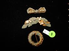 3 piece antique / vintage Miriam Haskell brooches, as found
