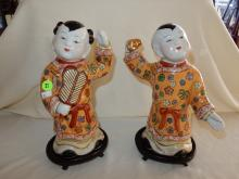 2 piece antique / vintage Asian porcelain boy & girl figurines, hand painted on fitted wooden base, cond VG, signed on base