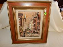 Vintage oil painting on board, by listed California artist John Checkley, depicting San Francisco street car