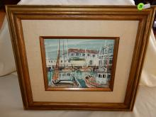 Vintage oil painting on board, by listed California artist John Checkley, depicting Fishermen's Grotto / boats in harbor