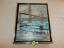 Vintage oil painting on board, by listed California artist John Checkley, depicting Golden Gate bridge (painting loose from frame)