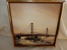 Vintage oil painting on board, by California artist, depicting Golden Gate bridge, signed LR