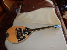 Unique antique mandolin style guitar with floral mother of pearl inlay, maker unknown, comes with cloth bag, cond G, shows scuffs from wear