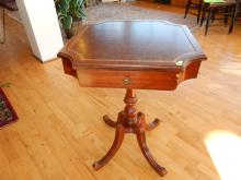 Vintage mahogany leather top lamp table, with drawer, (chip on drawer) Special shipping required