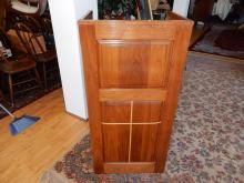 Custom made wood podium for small church, with inlaid cross in base, cond VG. Special shipping required
