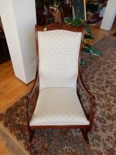 Nice carved goose neck arm rocker, COND VG. Special shipping required