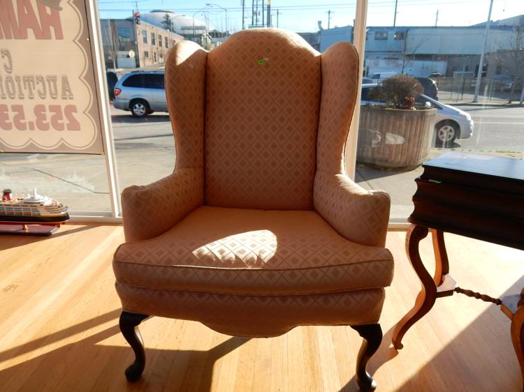 Nice vintage fireside chair with peach upholstery special s for Furniture upholstery tacoma