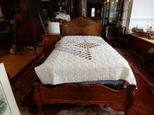 2 piece antique carved single bed and matching night stand, (with box & mat if needed) special shipping required, cond G-VG bed solid, nightstand top needs TLC