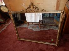 Vintage carved fancy wall mirror, special shipping req, cond VG