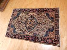 Antique / vintage hand woven Persian? wool rug, as found, used,