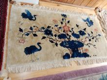 Vintage wool rug with birds, as found, used