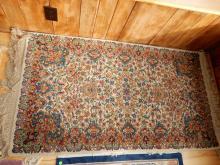 Vintage machine wool rug, as found, used