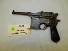 Rare German broomhandle Mauser pistol, SN #22692, appears to be in working order, untested/fired. History: a semi-automatic pistol that was originally produced by German arms manufacturer Mauser from 1896 to 1937, With its long barrel and high-velocity cartridge, the Mauser C96 had superior range and better penetration than most other pistols.**FFL paperwork & $25 fee required** See lot 0