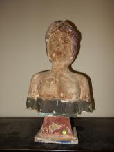 Unique hand carved and painted wooden carved ships figurehead, depicting womens bust, (no history / age?)