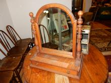 Antique dresser top shaving mirror with drawer, special shipping req