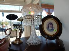 Lovely antique pressed / cut glass table lamp with mushroom shade & prisms, cond appears VG