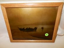 Wonderful Native American framed gold tone by Asahel Curtis, redone / reproduction by Gemez, depicting