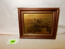 Wonderful Native American framed gold tone by Edward Curtis, redone / reproduction by Gemez, depicting
