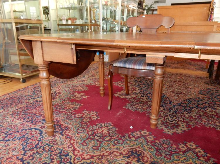 Beautiful Antique Double Drop Side Dining Table With Several