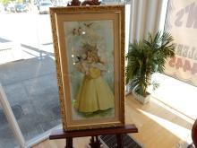 Lovely Victorian framed print, girl holding bird