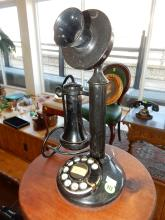Antique candlestick dial telephone, chip on mouth piece