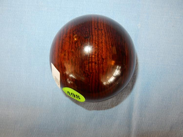 Lovely signed carved wood paperweight by tom laser cordia