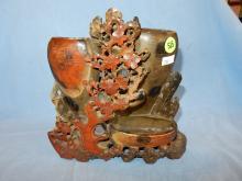 Nice antique / vintage Asian hand carved soapstone display, floral vase