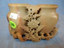 Nice antique / vintage Asian hand carved soapstone display, double floral vase