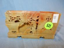 Nice antique / vintage Asian hand carved soapstone display, floral smoking? holder