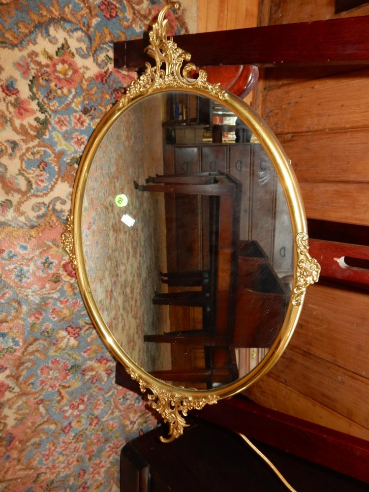 Lovely Antique Metal Framed Oval Wall Mirror Cannot Ship In