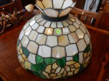 Large stained glass hanging lamp shade, one panel fractured. Cannot ship in house
