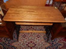 Lovely custom made oak top sewing table with converted treadle sewing cast metal base, cannot ship in-house