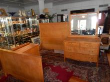 Beautiful American Birdseye Maple antique bedroom set, with bed and rails, dresser with mirror, low window dresser, cannot ship in-house