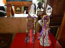 hand carved and painted balinese puppets