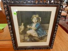 Antique carved frame, with young girl & pigeon print, frame as found
