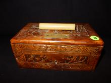 Nice Asian carved lock / document box (missing lock) with Bakelite? handle, camphor wood