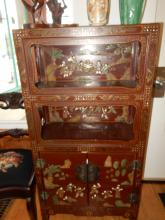 Unique Asian lacquer painted cabinet, with applied jade? figures & trees, minor loss due to age. Cannot ship in house