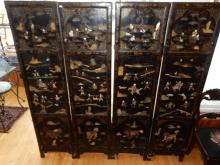 Lovely antique Asian lacquer painted panels / dressing screens, with applied carved jade? figures. Dressing screen no longer hooks together, wiring has been applied to back (to hang as art). Loss due to age. Cannot ship in house