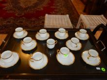 Group of Haviland Limoges cups & saucers, cond VG