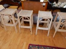 4 piece modern wicker white wash bar stools. Cannot ship in house