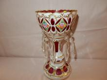 Lovely cranberry Bohemian single mantle luster, case glass & painted floral panels, with prisms, cond VG