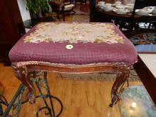 Antique carved needlepoint footstool
