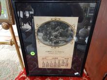 Framed 1910 advertising calendar