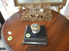 2 piece antique desk top ink wells larger one as found