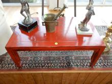 Small Asian red painted low table, cannot ship in-house