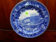 Antique blue and white Wedgwood plate with Washington's Headquarters