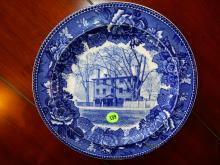 Antique blue and white Wedgwood plate with Longfellow's Early Home