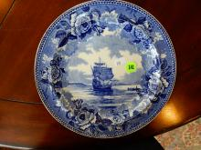 Antique blue and white Wedgwood plate with Mayflower ship