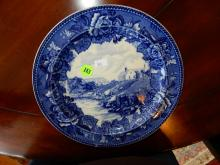 Antique blue and white Wedgwood plate with The Scene Of Harriet Beecher Stowe's